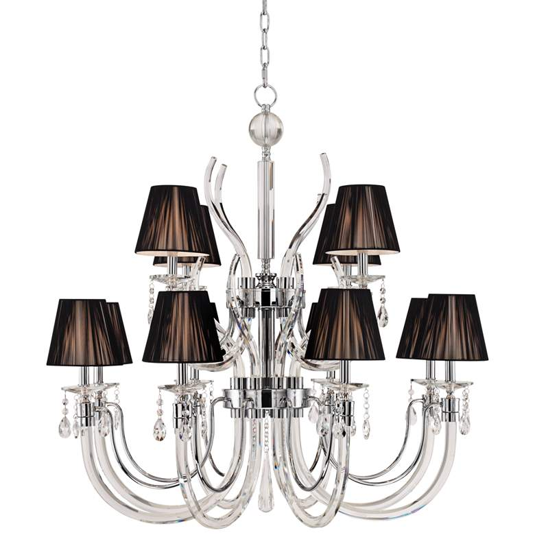 "Derry Street 40"" Wide Chrome and Crystal 12-Light Chandelier"