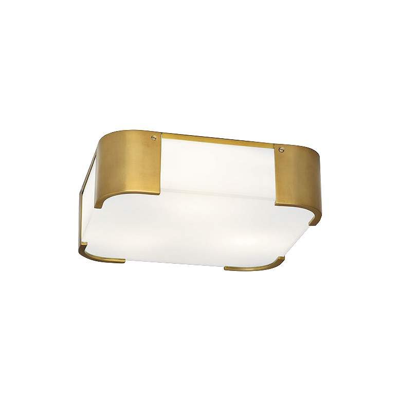 """Robert Abbey Bryce 14"""" Wide Brass Square Ceiling Light"""