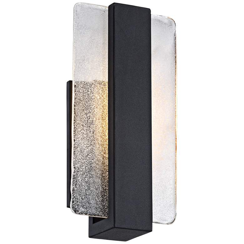 "Cascadia Piastra Glass 11 3/4""H Black LED Wall Sconce"