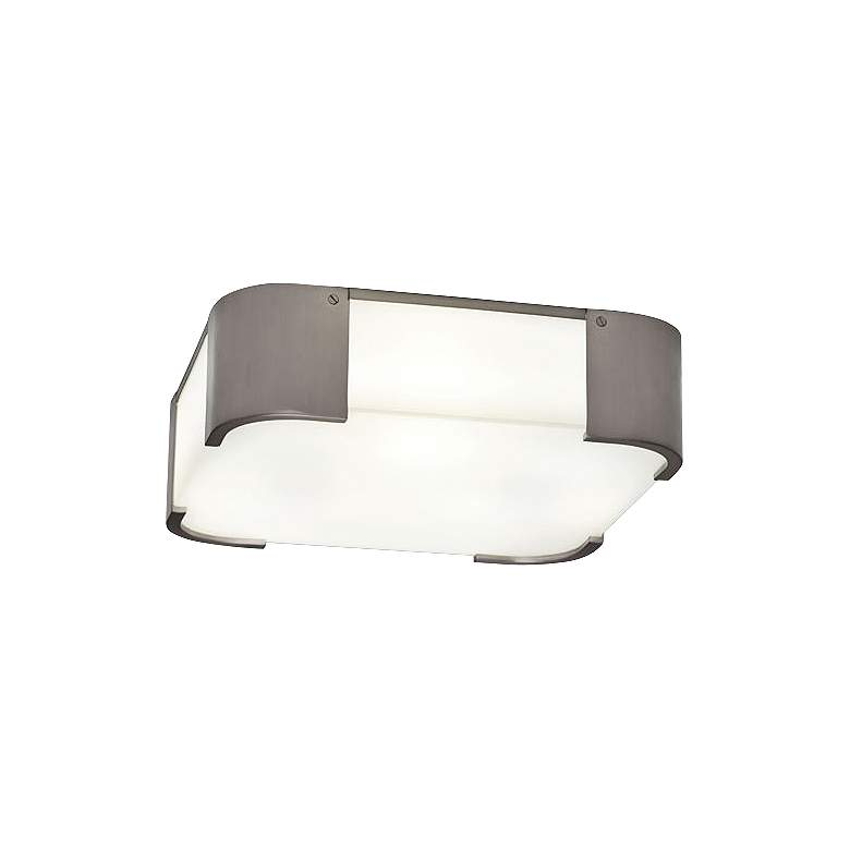 """Robert Abbey Bryce 14"""" Wide Nickel Square Ceiling Light"""