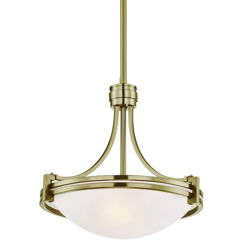 """Possini Euro Deco 12 1/2"""" Wide Warm Brass Pendant Light"""