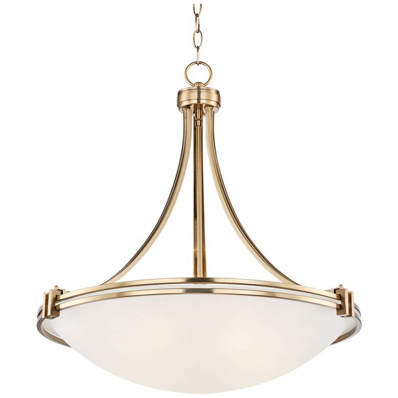 """Possini Euro Deco 21 1/2"""" Wide Warm Brass Pendant Light"""
