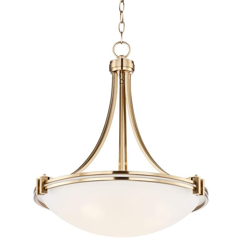 """Possini Euro Deco 24 1/4"""" Wide Warm Brass Pendant Light"""