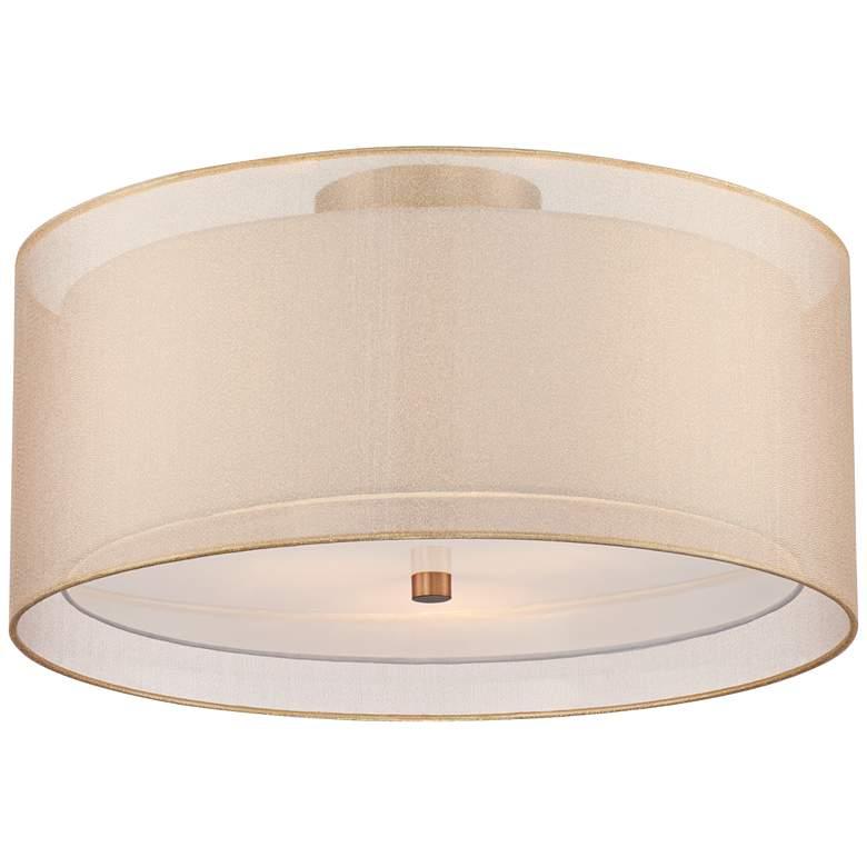 "Possini Euro Double Drum 18"" Wide Champagne Ceiling Light"