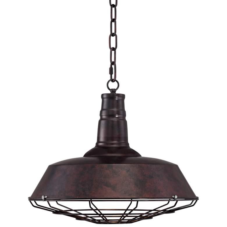 """Tiedra Bronze 18 1/4"""" Wide Industrial Cage Pendant Light"""