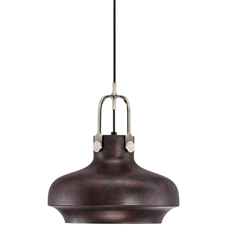 "Yardley 14"" Wide Antique Bronze Industrial Mini Pendant"