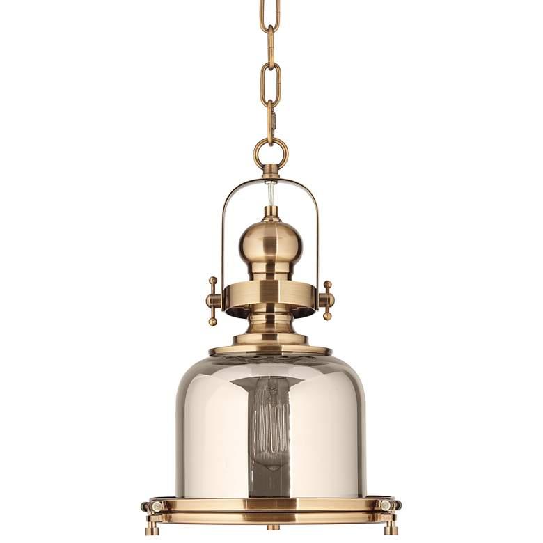 "Elida Antique Brass 11"" Wide Chrome Glass Mini Pendant Light"