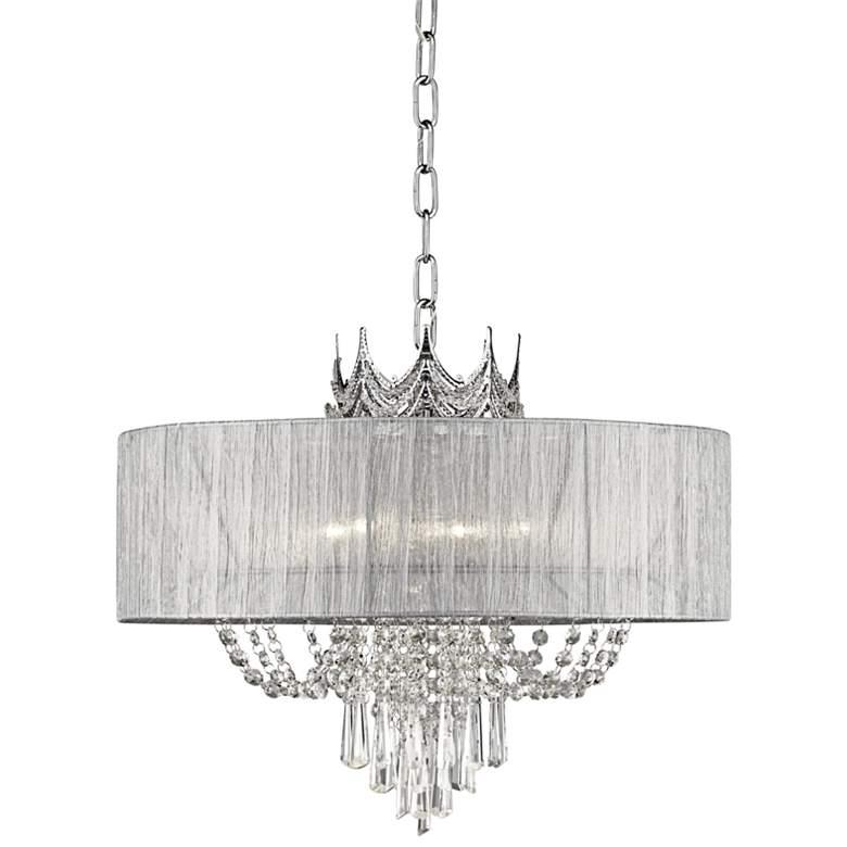 "Hallie 21"" Wide Draped Crown Crystal 6-Light Chandelier"