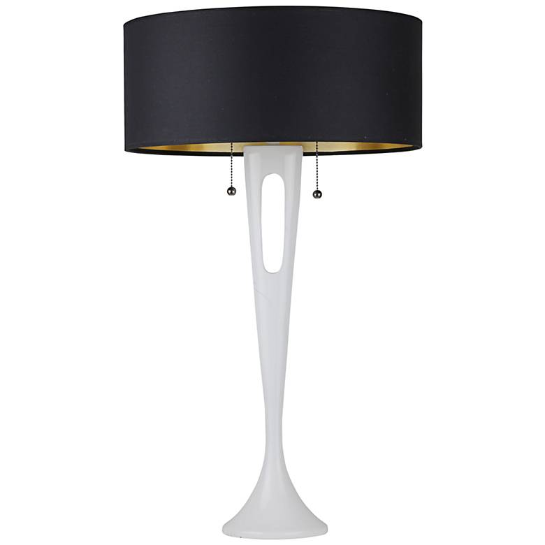 Soiree White Table Lamp with Metallic Black and Gold Shade