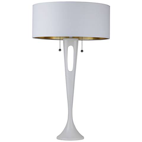 Soiree White Table Lamp with Metallic White and Gold Shade