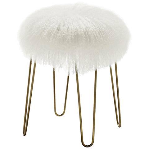 Zelda White Sheepskin Bench Stool - #1F343   Lamps Plus