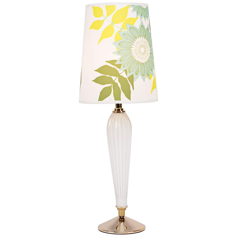 Colette Milk Glass Table Lamp with Anna Green Shade