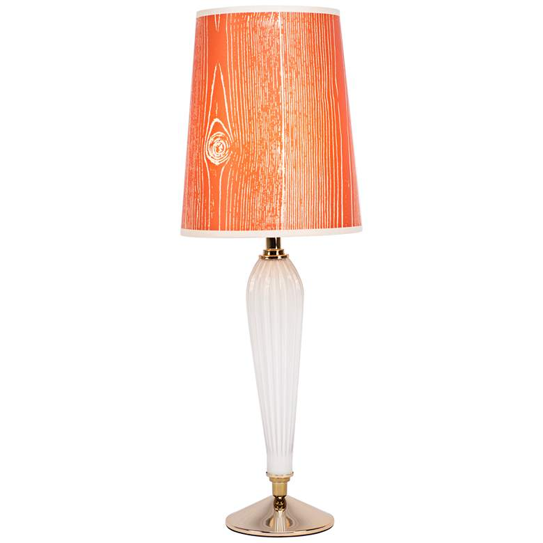 Colette Milk Glass Table Lamp with Faux Bois