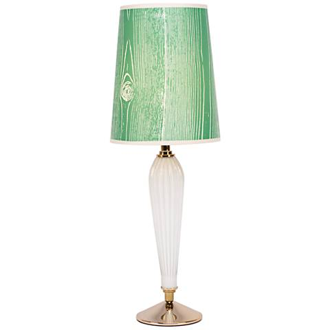Colette Milk Glass Table Lamp with Faux Bois Kelly Shade
