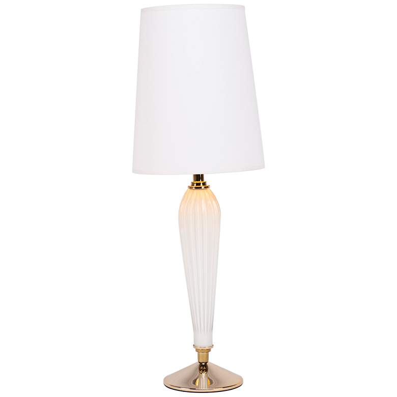 Colette Milk Glass Table Lamp with White and Gold Shade