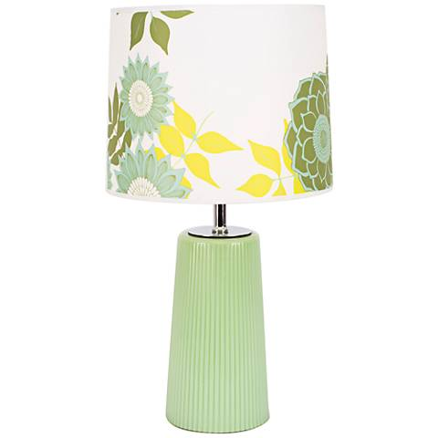 Martha Apple Glass Table Lamp with Anna Green Shade
