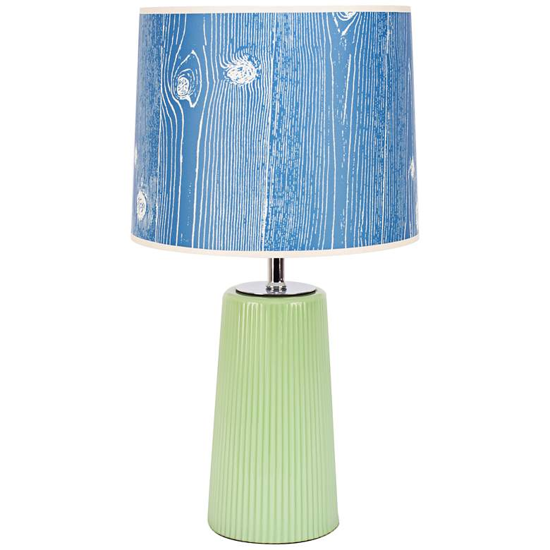 Martha Apple Glass Table Lamp with Faux Bois Marine Shade