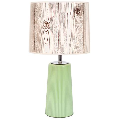 Martha Apple Glass Table Lamp with Faux Bois Light Shade
