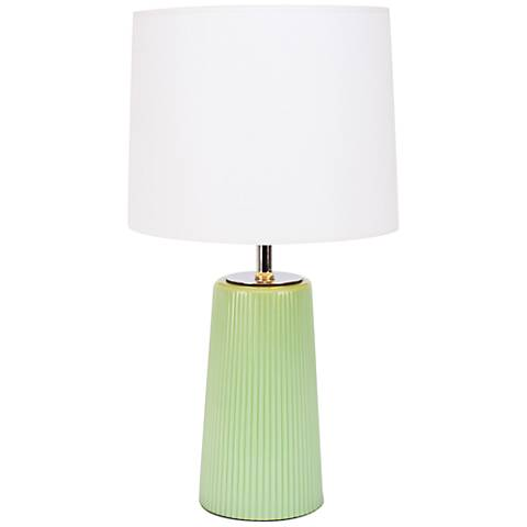 Martha Apple Glass Table Lamp with White and Gold Shade