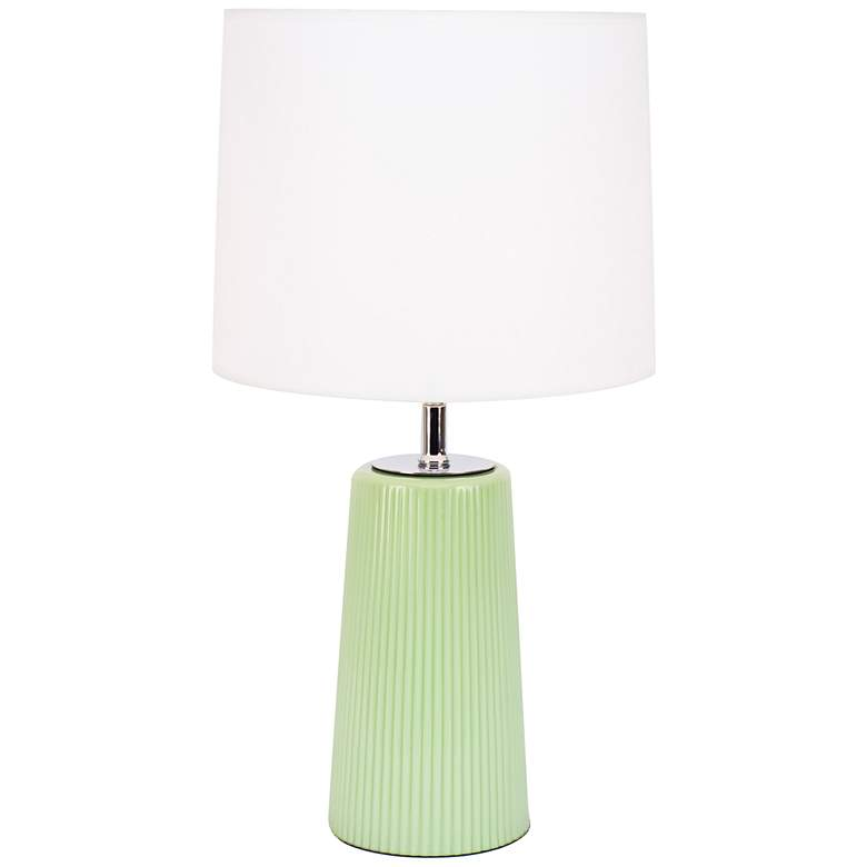 Martha Apple Glass Table Lamp with White Linen