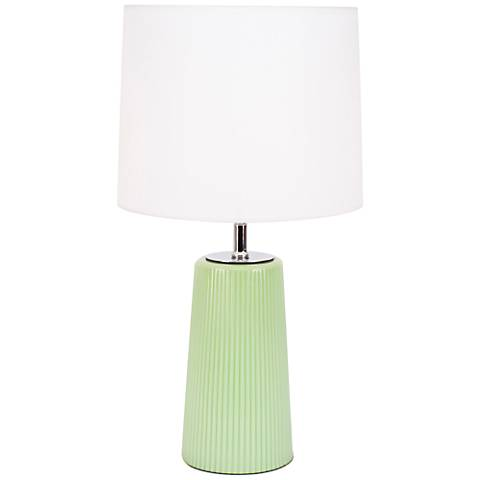Martha Apple Glass Table Lamp with White Linen Shade
