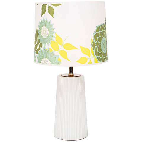 Martha Milk Glass Table Lamp with Anna Green Shade
