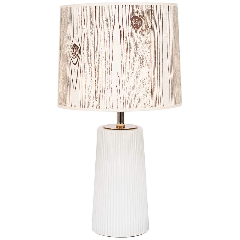 Martha Milk Glass Table Lamp with Faux Bois Light Shade