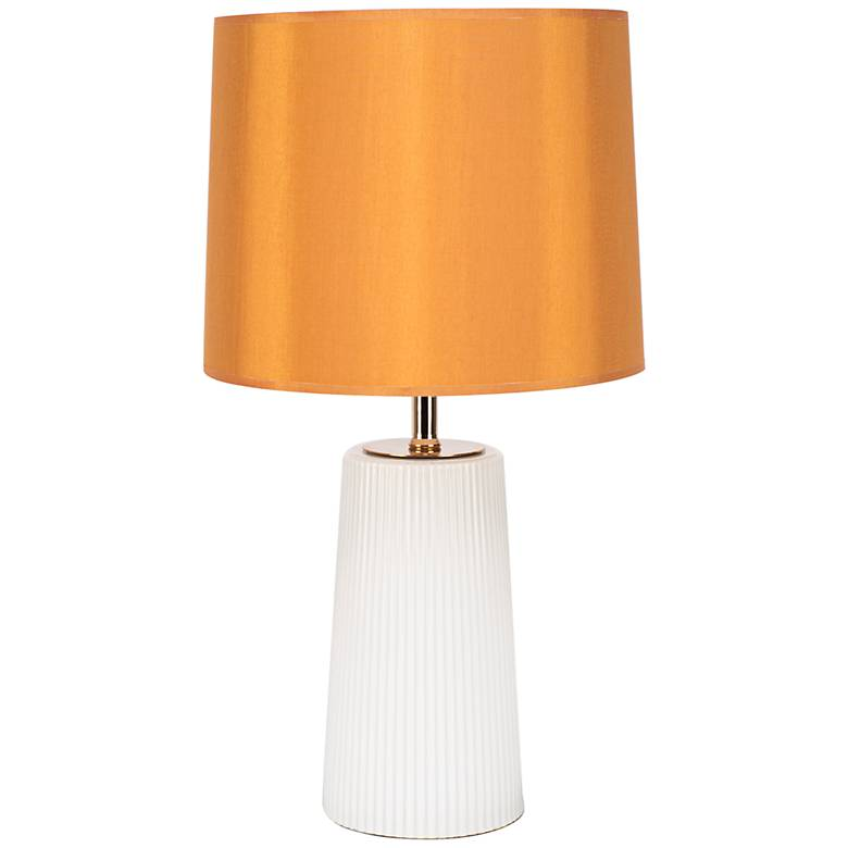 Martha Milk Glass Table Lamp with Gold Shade