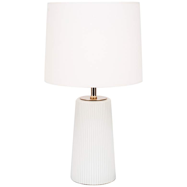 Martha Milk Glass Table Lamp with Ivory Shade