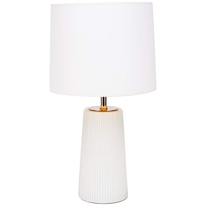Martha Milk Glass Table Lamp with White and Gold Shade