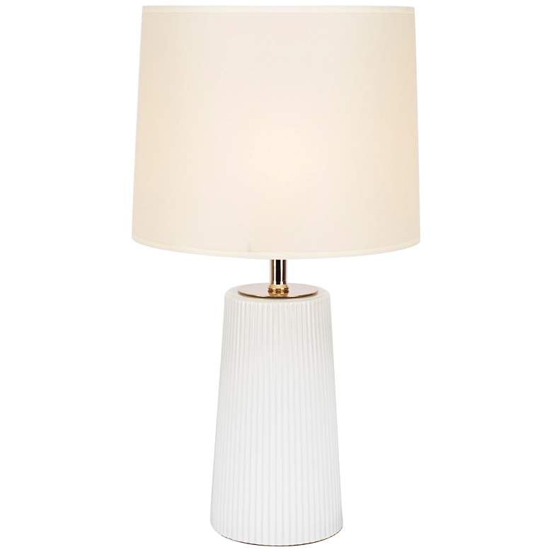 Martha Milk Glass Table Lamp with Chamois Parchment Shade