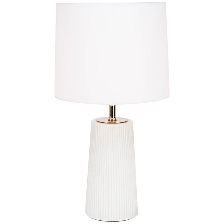 Martha Milk Glass Table Lamp with White Linen Shade