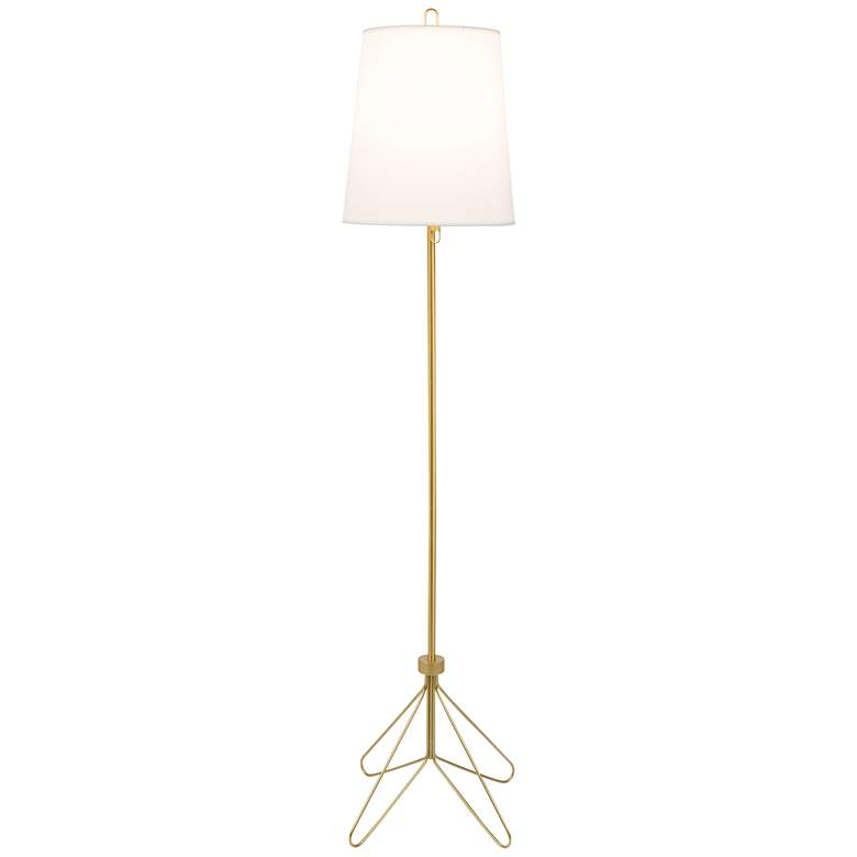 Lights Up! White Linen Shade Modern Floor Lamp