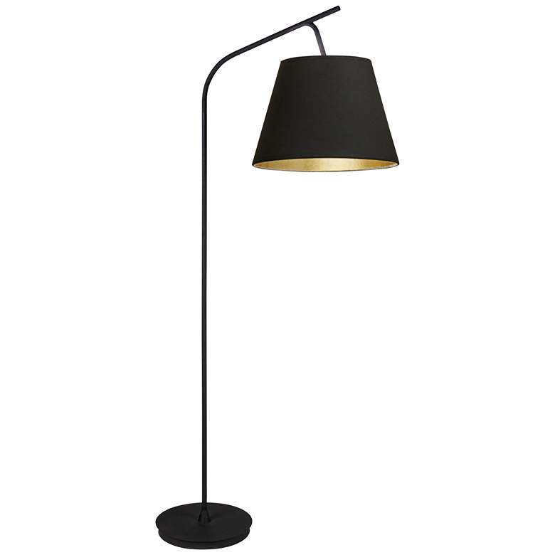 """Walker 75"""" HIgh Black with Black and Gold Shade Floor Lamp"""