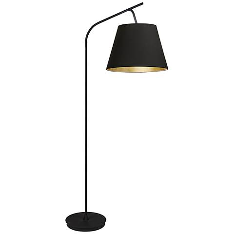 "Walker 75"" HIgh Black with Black and Gold Shade Floor Lamp"