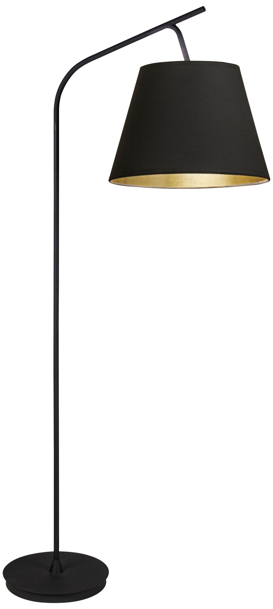 Walker Black With Black And Gold Shade Arc Floor Lamp