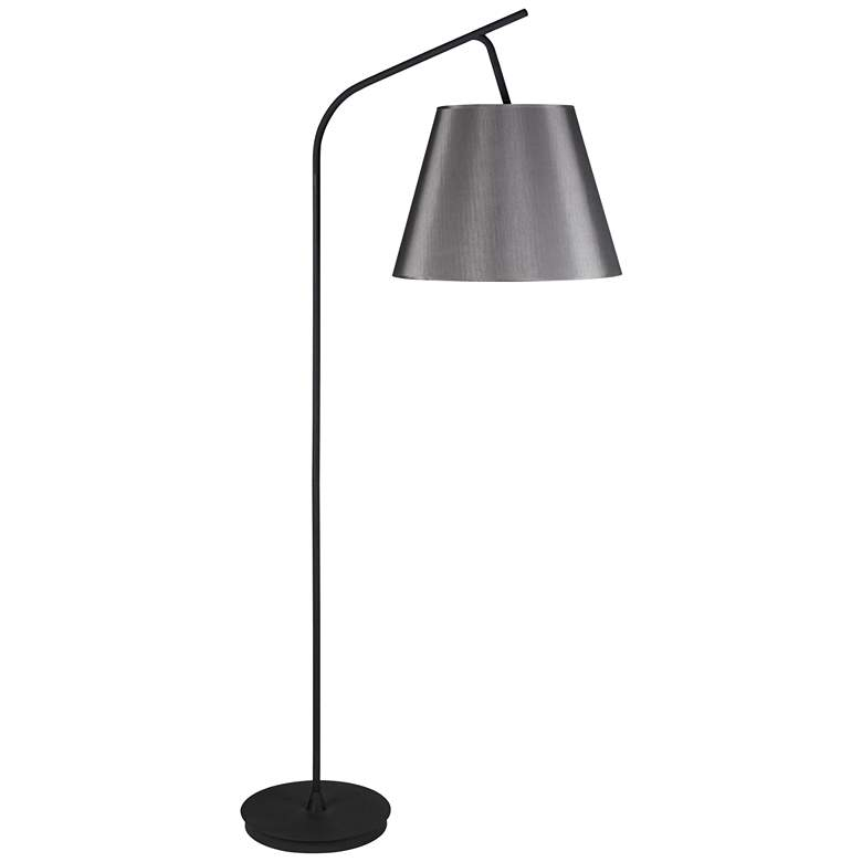 "Walker 75"" High Black with Platinum Shade Arc Floor Lamp"