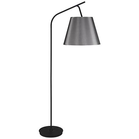 Walker Black with Platinum Shade Arc Floor Lamp