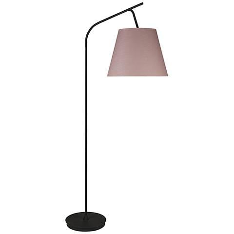 walker black with rose tweed shade arc floor lamp 1f405 lamps plus. Black Bedroom Furniture Sets. Home Design Ideas
