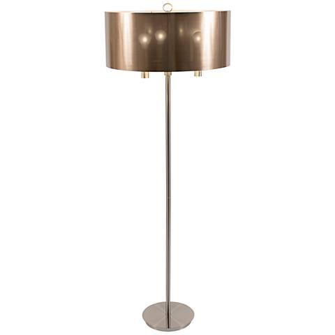 "Walker 68"" High Nickel with Copper Shade Floor Lamp"