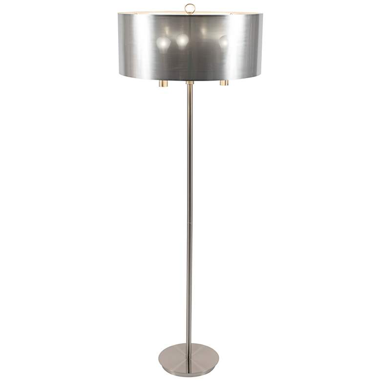 "Walker 68"" High Nickel with Silver Shade Floor Lamp"