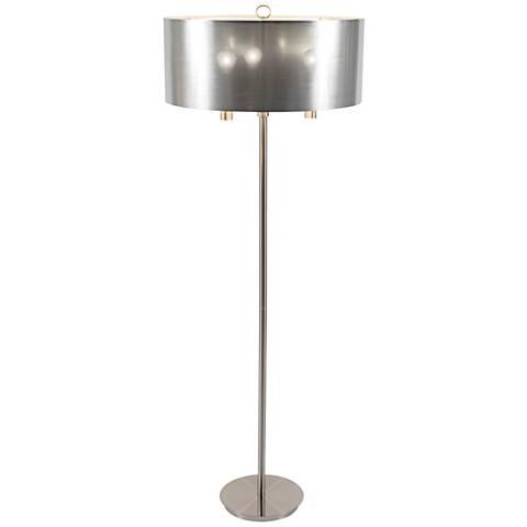 Walker Nickel with Silver Shade Floor Lamp