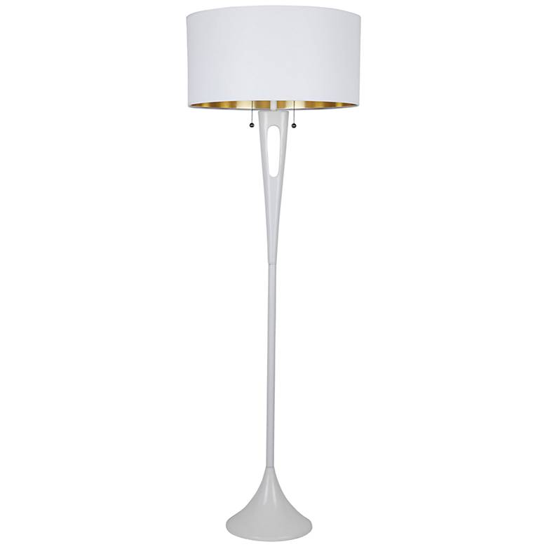 "Soiree 60"" HIgh White with Metallic White Shade Floor Lamp"