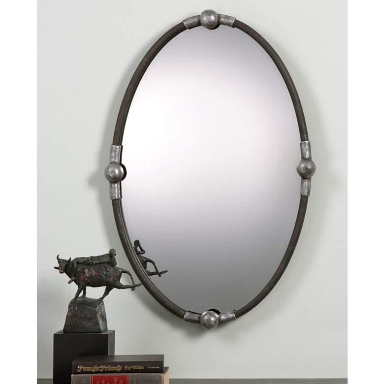 """Uttermost Nova Rust Black 22"""" x 32"""" Oval Wall Mirror"""