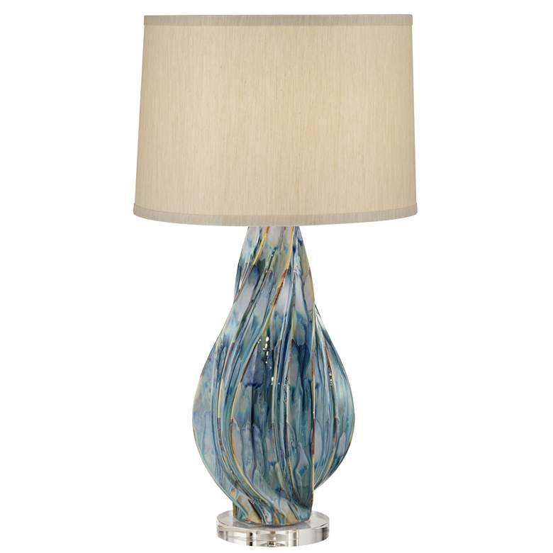 Teresa Teal Drip Modern Ceramic Table Lamp