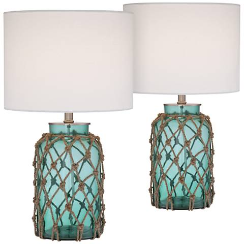 Crosby Blue-Green Glass Accent Bottle Table Lamp Set of 2