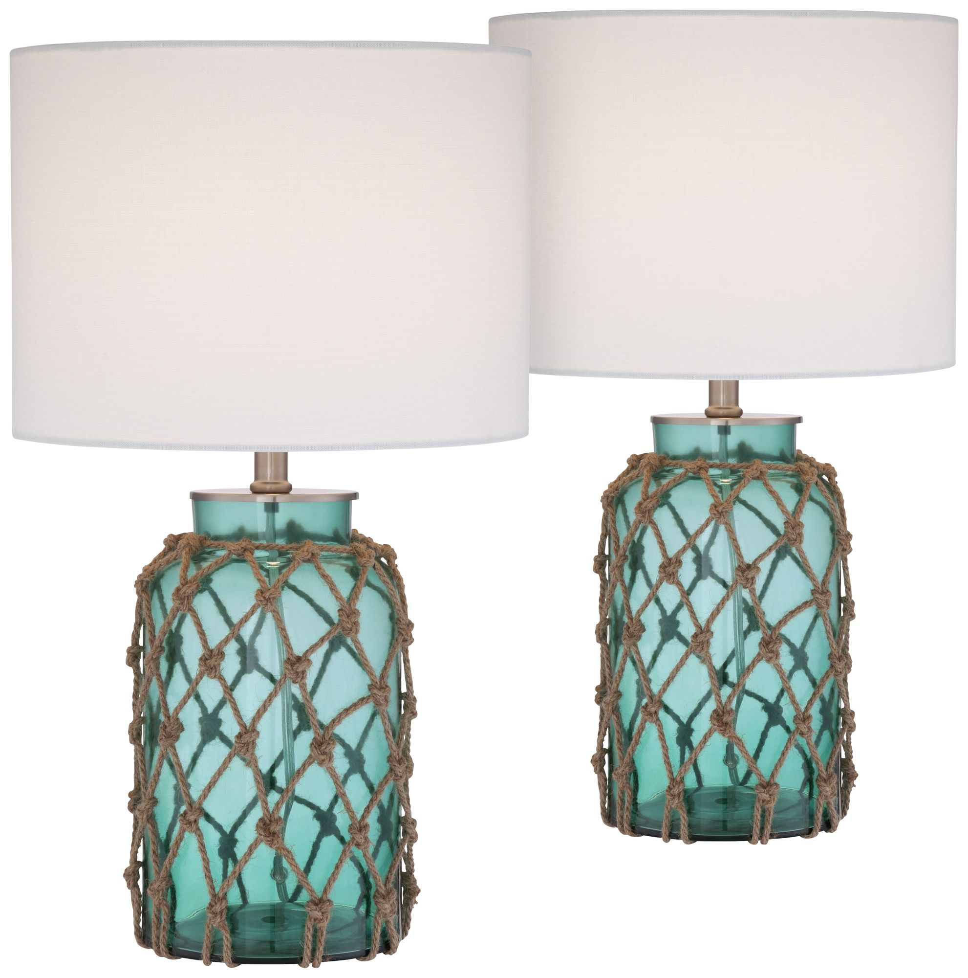Crosby Blue Green Glass Accent Bottle Table Lamp Set Of 2