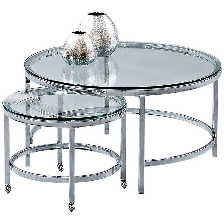 """Patinoire 34"""" Wide Chrome and Glass Nesting Cocktail Tables"""