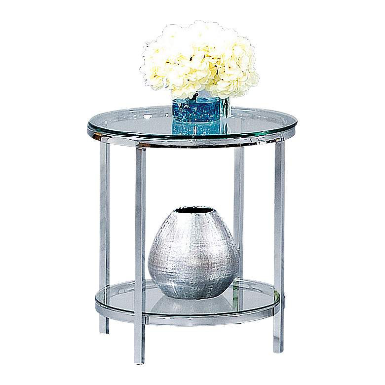 """Patinoire 22"""" Wide Polished Chrome and Glass Round End Table"""