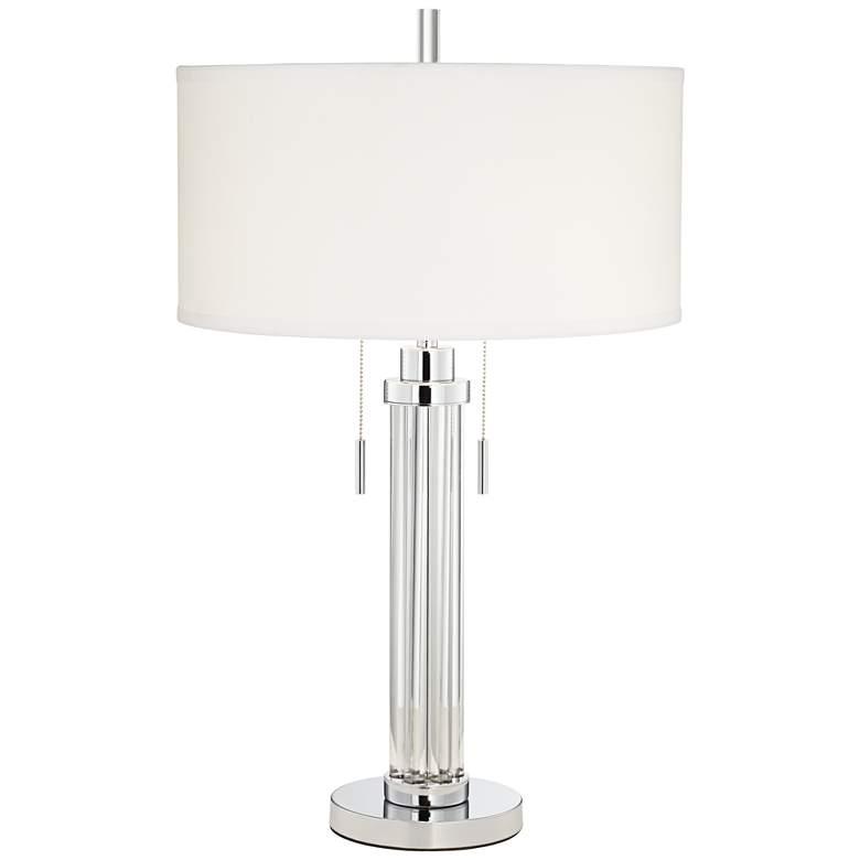 Possini Euro Cadence Glass Column Table Lamp